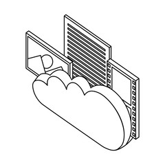 cloud computing photo file film isometric vector illustration thin line
