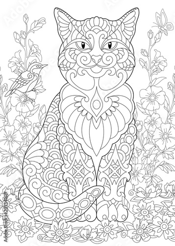 Cat Spring Garden Coloring Page Adult Book Idea