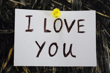 I love you is written on a sheet of white paper