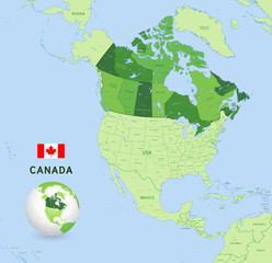 Green Canada Vector Administrative Map