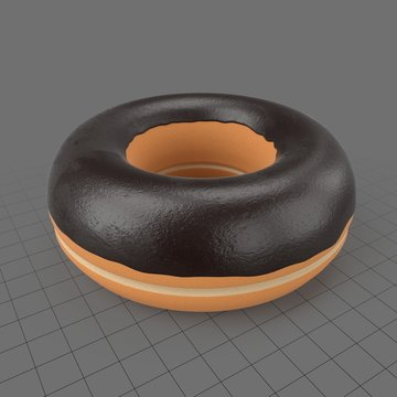 Stylized donut with chocolate icing