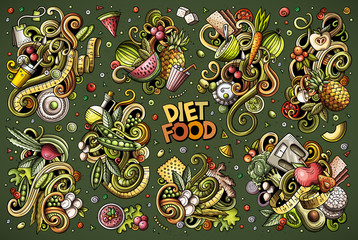 Vector doodles cartoon set of Diet food combinations of objects and elements