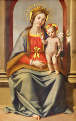 Wall Mural - MODENA, ITALY - APRIL 14, 2018: The painting of Madonna (Madonna del Giglio) in church Chiesa di San Pietro as the copy of work Giovanni Battista Salvi from 17. cent.).