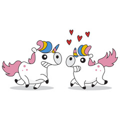 Cute and funny enamored unicorns. Vector cartoon illustration of a fairy animal isolated on white background.