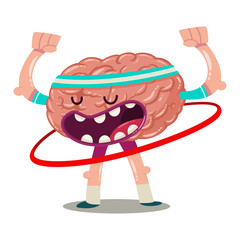 Funny cartoon brain trains with hula hoop. Vector character of an internal organ isolated on a white background. Brainstorm illustration.