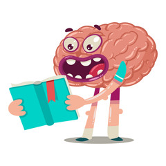 Cartoon brain is reading a book. Vector character of an internal organ isolated on a white background. Brainstorm illustration.