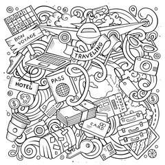 Cartoon vector doodles Travel illustration