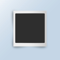 Retro realistic vertical blank instant photo card with shadow effect
