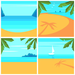 Summer background with beach, palm trees and ocean. Vector cartoon set.