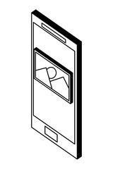 smartphone device with picture file isometric icon vector illustration design