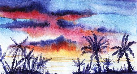 Tropical landscape with purple silhouettes of palm trees and sunset. Hand-Drawn Watercolor Illustration on Paper