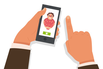 Call mom concept. Vector cartoon flat illustration with mobile phone in hand and incoming call from an old woman.