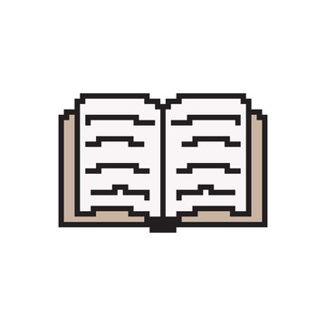 Pixel art book. Vector 8 bit game web icon isolated on white background.
