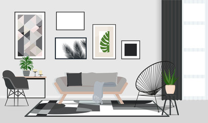 Interior design in Scandinavian style with wooden sofa. Vector flat illustration.
