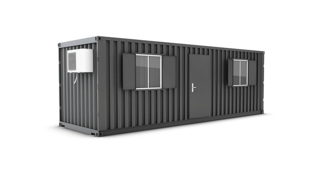 Converted old shipping container into building office, 3d Illustration isolated white