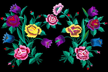 embroidery stitch flowers isolated black background