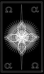 Tarot cards - back design. Alpha and Omega