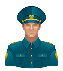 Policeman on a white background