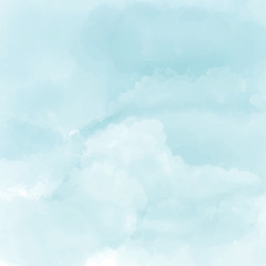 Watercolor white and light blue texture, background. Cloud.Vector Illustration