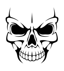 Angry skull on a white background