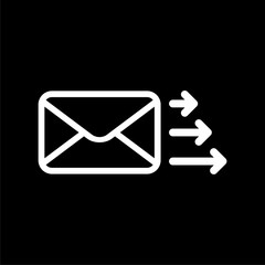 Letter icon, Send email message on dark background