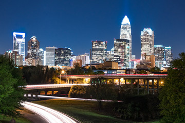 Night skyline of Charlotte North Carolina