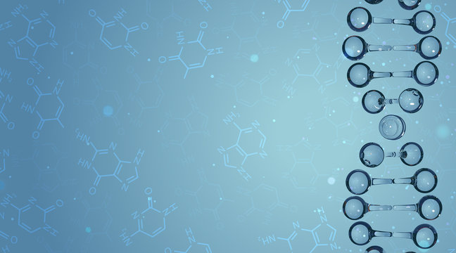 DNA molecules and chemical formulas. Vector background