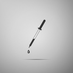 Pipette icon isolated on grey background. Element of medical, chemistry lab equipment. Pipette with drop. Medicine symbol. Flat design. Vector Illustration