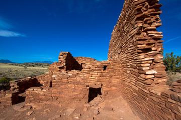 The ruins of ancient Anasazi Lomaki Pueblo are protected inside Wupatki National Monument near Flagstaff, Arizona