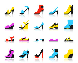 Shoes simple flat color icons vector set