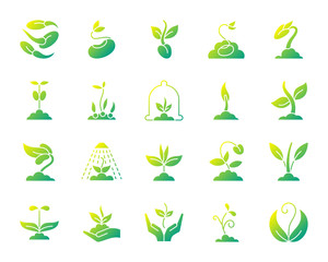 Sprout simple gradient icons vector set