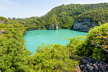 Thale Nai or Blue Lagoon (Emerald Lake) High view beautiful nature landscape green sea in the middle of mountain at Koh Mae Ko island viewpoint in Mu Ko Ang Thong National Park, Surat Thani, Thailand