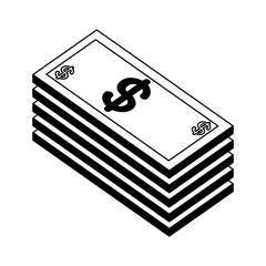 pile of bill dollars isometric icon vector illustration design