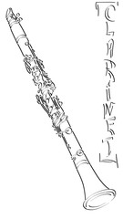 Vector abstract illustration drawing of clarinet.