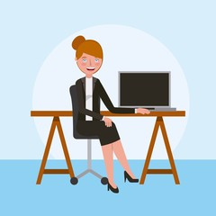 professional woman teaching online learning education vector illustration