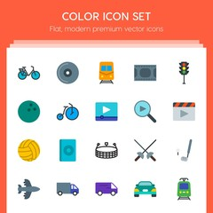 Modern Simple Set of transports, sports, video, buildings Vector flat Icons. Contains such Icons as  vehicle,  video,  metro,  plane, bike and more on red background. Fully Editable. Pixel Perfect