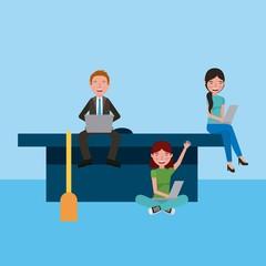 teacher and students girls sitting graduation cap learning education vector illustration