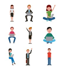learning education people teacher students with laptops vector illustration