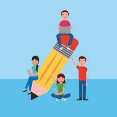 group students with dvices and big pencil learning education vector illustration