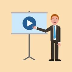 teacher man pointing video screen learning vector illustration