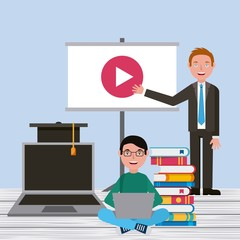 student boy and teacher video screen laptop books learning vector illustration