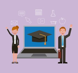 man and woman teaching online learning vector illustration