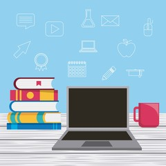 laptop stack books and coffee cup learning vector illustration