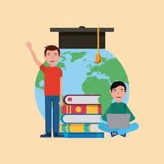 student boys graduation cap books computer learning vector illustration