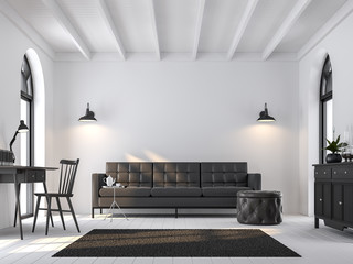 Wall Mural - Scandinavian living room 3d render.There are white wooden floor.Furnished with black furniture.