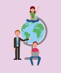 student boy girls and teacher with school globe learning vector illustration