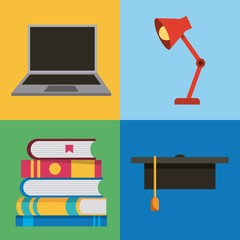 learning set laptop books graduation cap and lamp vector illustration