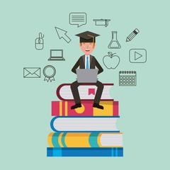teacher sitting on stacked books learning vector illustration