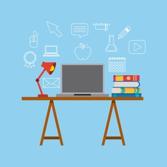 study desk computer books and lamp vector illustration