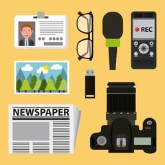 journalism activities work equipment set vector illustration
